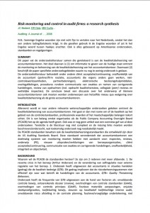 Risk monitoring and control in audit firms: a research synthesis
