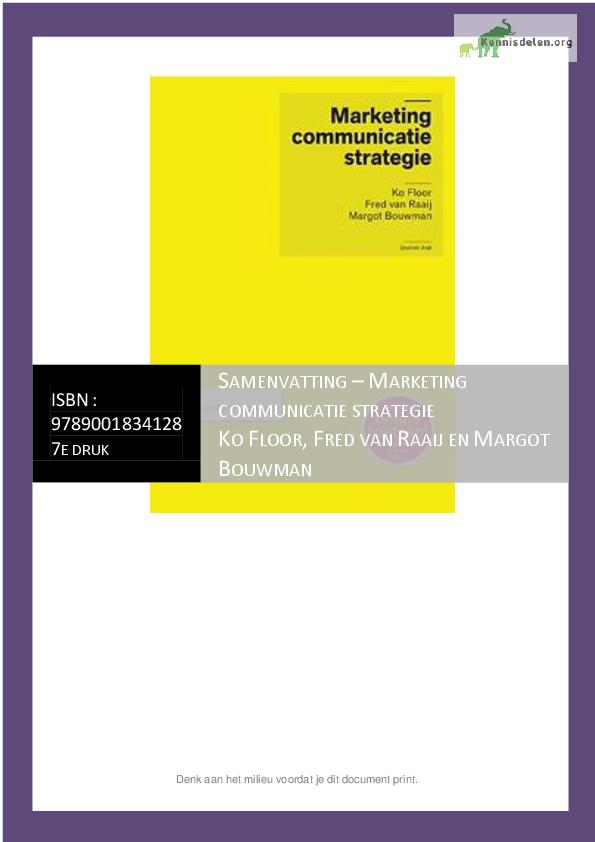 Samenvatting Marketing Communicatie Strategie