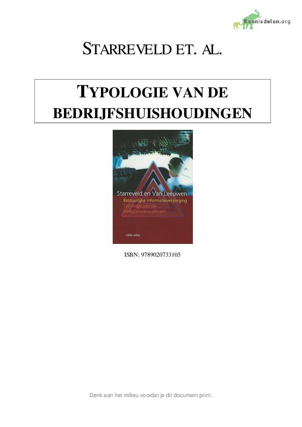 TYPOLOGIE VAN DE BEDRIJFSHUISHOUDINGEN