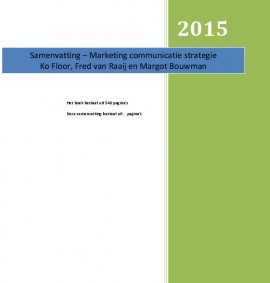 Marketing Communicatie Strategie Samenvatting