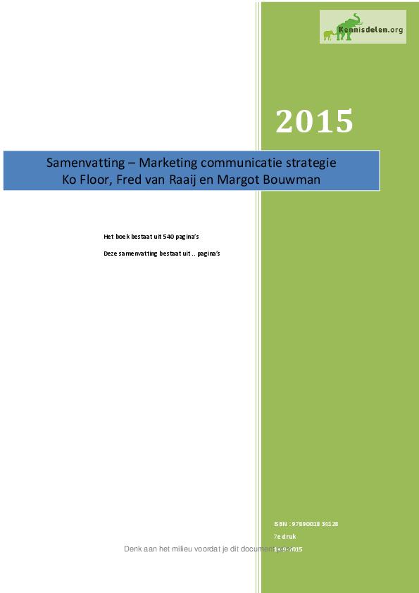 Marketing Communicatie Strategie Samenvatting