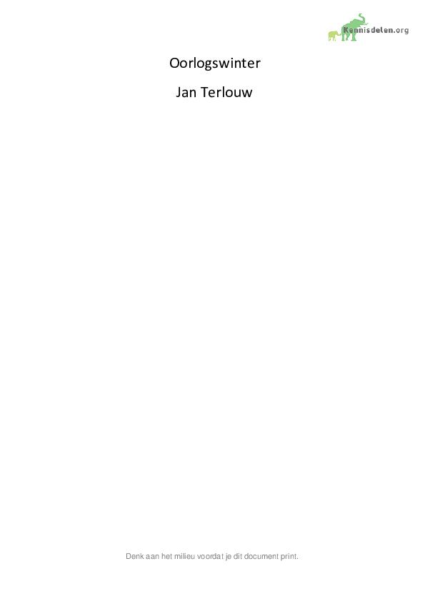 boekverslag oorlogswinter - jan terlouw - gratis boeksamenvattingen