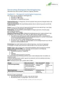 Samenvatting Strategische marketingplanning Karel-Jan Alsem: Hst 2 t/m 11