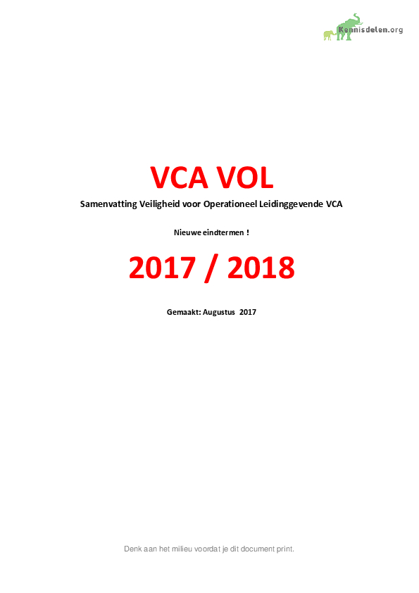 Samenvatting VOL VCA