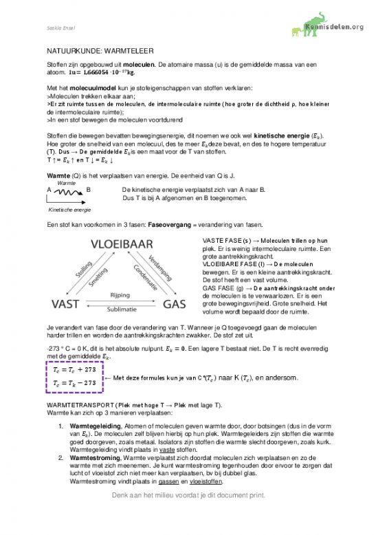Natuurkunde samenvatting Warmteleer