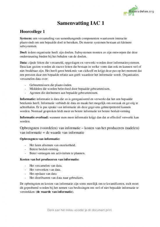 Samenvatting Internal Accounting Control 1 (IAC 1)