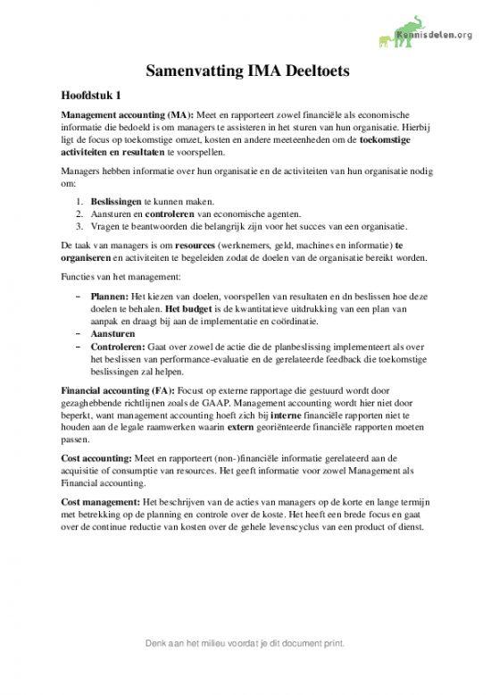 Samenvatting Management Accounting