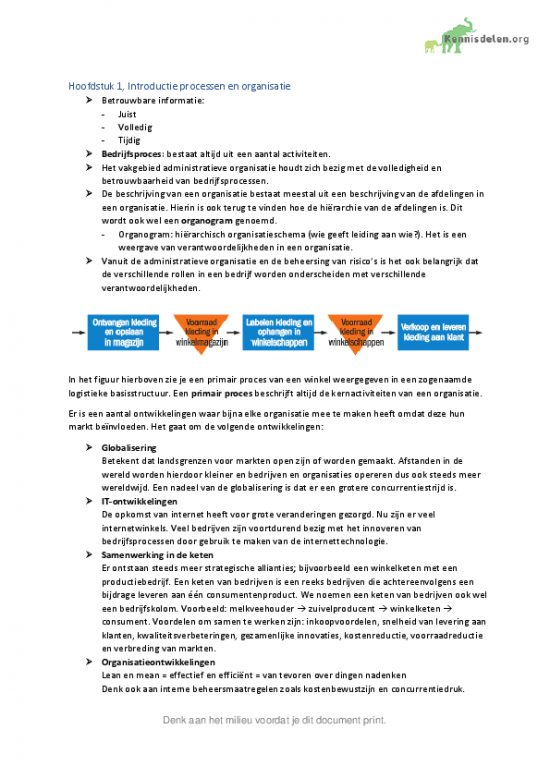 Samenvatting Administratieve Organisatie Hoofdstuk 1 t/m 7