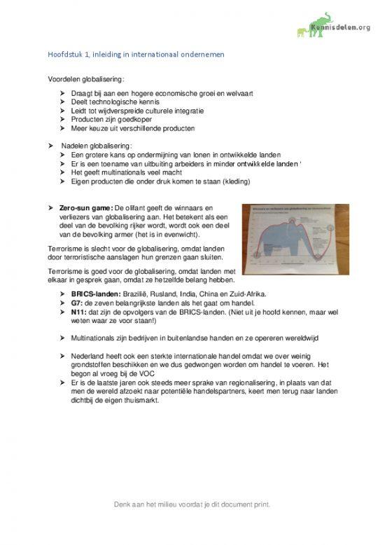 Samenvatting Internationaal ondernemen Hoofdstuk 1 t/m 10
