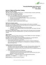 Financial Markets Exam Summary