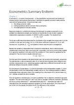 Summary Econometrics Endterm
