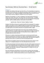 Summary Micro Economics Endterm for Premaster Economics at Utrecht University