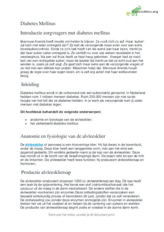 Diabetes Mellitus en de behandeling ervan.