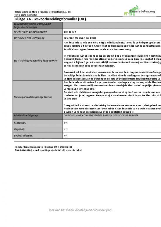 Fitnesstrainer A Deelopdracht 1: Het maken van een lessenreeks Lesvoorbereidingsformulier week 1 tm 4