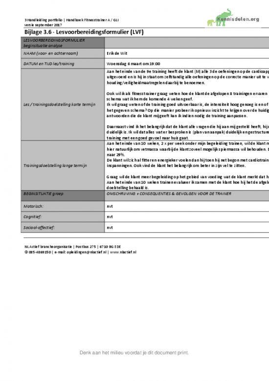 Fitnesstrainer A Deelopdracht 1: Het maken van een lessenreeks Lesvoorbereidingsformulier week 5 tm 8