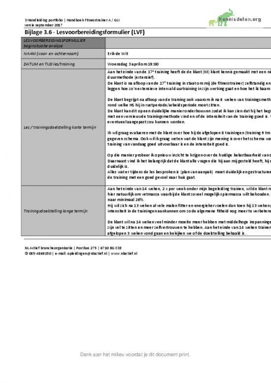 Fitnesstrainer A Deelopdracht 1: Het maken van een lessenreeks Lesvoorbereidingsformulier week 9 tm 12
