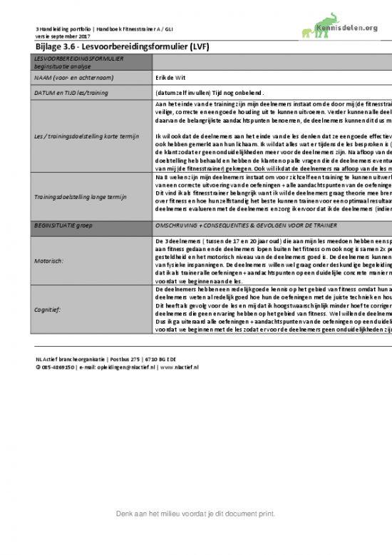 Fitnesstrainer A (NLActief) Eindexamen Lesvoorbereidingsformulier