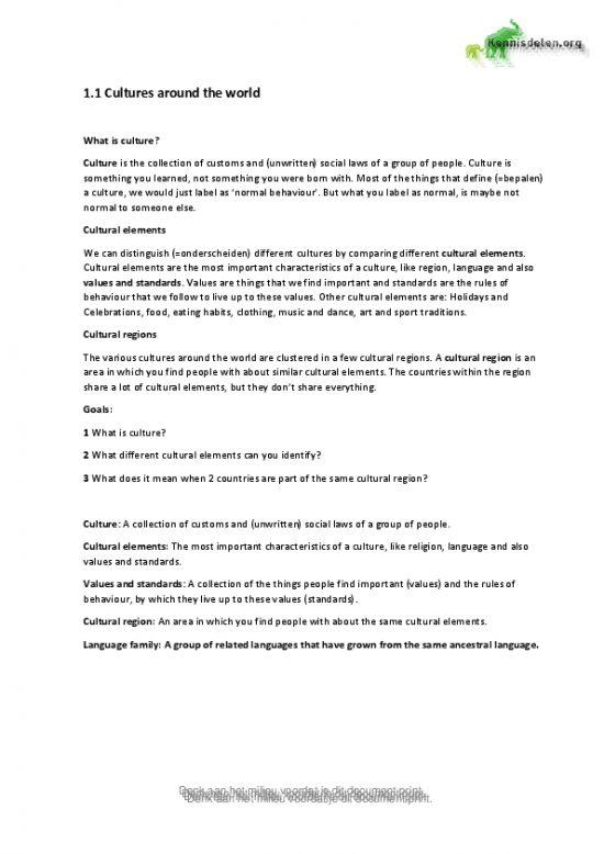 Samenvatting Aardrijkskunde hoofdstuk 1 cultures around the world