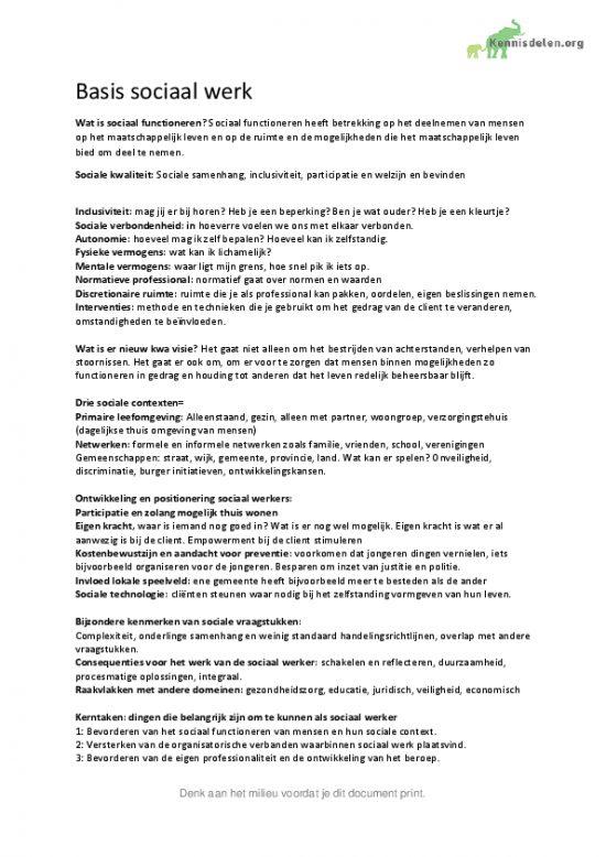 Samenvatting grondslagen 1 Social work