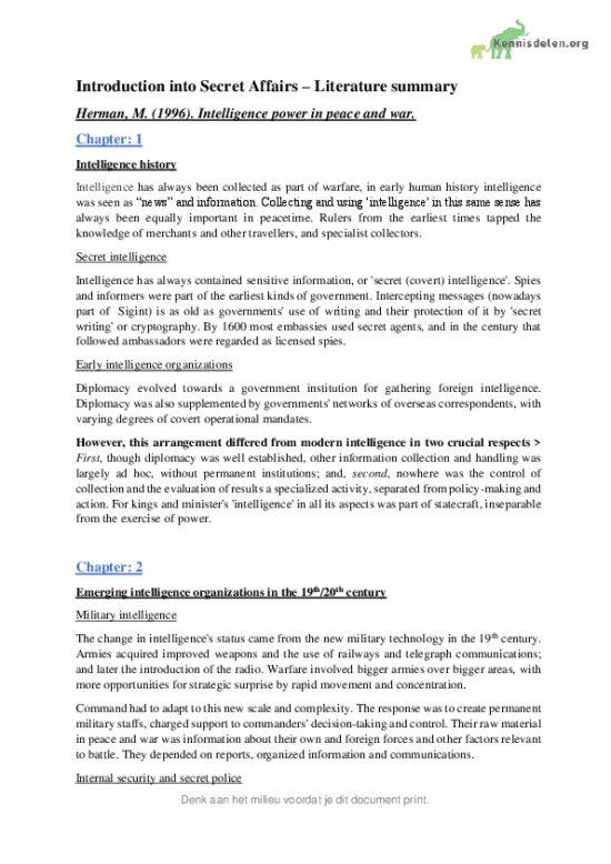 Introduction into Secret Affairs (8910IS013) mandatory readings summaries